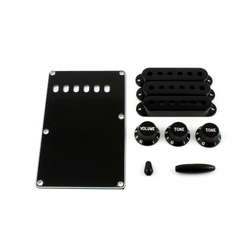 Accessory kit for Strat - 1 spring cover, 3 p/up covers, 1 vol &amp; 2 tone knobs, 1 switch tip, 1 trem arm tip
