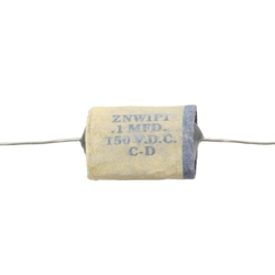 Reproduction 1954 phonebook-style capacitor. White with blue stripe, wax with film condenser. 0.1 mfd, 150 VDC. 2 inch wire lead