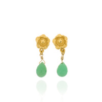 B-E11gp_ch Flower drops with Chrysoprase briolettes, fully Gold-Plated