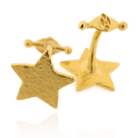 N-C09 Star - Cufflinks: Gold plated sterling silver