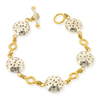 T-B03 Single-strand bracelet with mini-rings & 5 large charms (silver)
