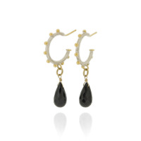 N-E09 Sterling silver studded hammered hoops, with gold plated details and black Spinel briolette drops