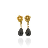 B-E11gp_sp Flower drops with Black Spinel briolettes, fully Gold-Plated