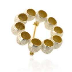 B-BR01 Silver Gumnut Brooch with Gold-Plated Centres