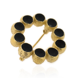 B-BR03 Gold-Plated Gumnut Brooch with Oxidised Centres
