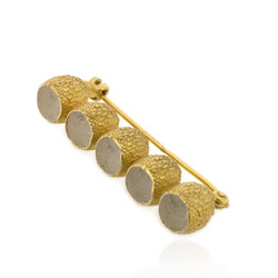 B-BR05 Gold-Plated Gumnut Straight Brooch with White Centres