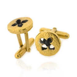 B-C07 Eucalyptus Button Cufflinks - Gold Plated