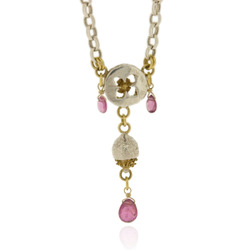 B-N10pt Medium belcher with eucalyptus button, acorn & pink tourmaline briolettes