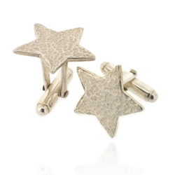 N-C08 Silver Hammered Star Cufflinks