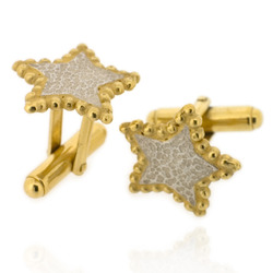 N-C11 Bobble Star - Cufflinks: sterling silver with gold plated bobble trim
