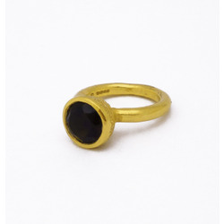 B-R04gp_sm Acorn Cup Ring with Smoky Quartz