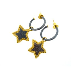 N-E32 Oxidised Silver Star hoops