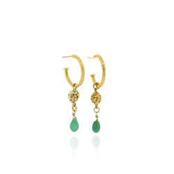 T-E07 Hoops with small GP charms & chrysoprase briolettes