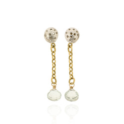 T-E19 Silver Studs with Gold-Plated Chain and Green Amethyst Briolettes