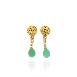 T-E12 Small drops with green chalcedony briolettes, all GP