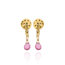T-E13 Small drops with pink tourmaline briolettes