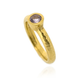 N-R06gp_am Hammered Stacking Ring, Fully Gold-Plated with 5 mm Amethyst