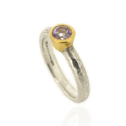 N-R06am Hammered Stacking Ring, Silver with 5 mm Amethyst