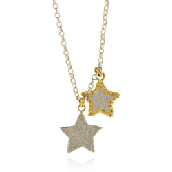 N-N08 Silver Necklace with Two Stars