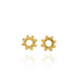 N-E01 Nina - Studs Earrings in sterling silver mini hammered ring with bobbles, all gold plated