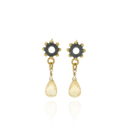N-E04 Nina- bobble mini ring earrimgs drops with Citrines briolletes, oxidized silver with gold plated details