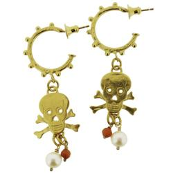 N-E13 Gold Plated studded hoop earrings with skull & crossbones with fresh-water pearl & coral