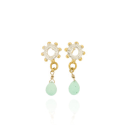 N-E05 Bobble mini ring drops with Chrysoprase briolletes, all gold plated
