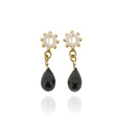 N-E06sp Nina- bobble mini ring earrimgs drops with black spinel briolletes, with gold plated details
