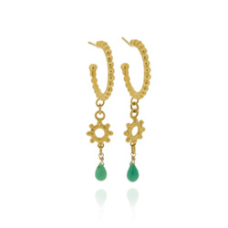 N-E10 Gold Plated studded hoop earrings with mini hammered studded ring & chrysoprase briolettes