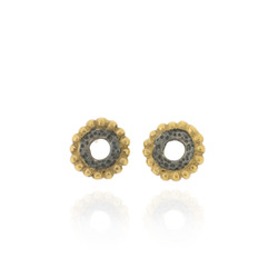 N-E48 Oxidised Silver & Gold-Plated Circle Studs