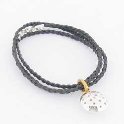 T-BL01 Silver Telegraf Braided Leather Bracelet