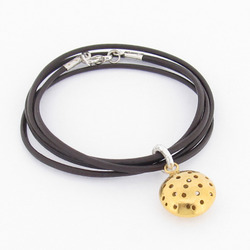 T-BL02  Gold-Plated Telegraf Leather Bracelet