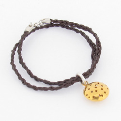 T-BL04 Gold-Plated Telegraf Braided Leather Bracelet