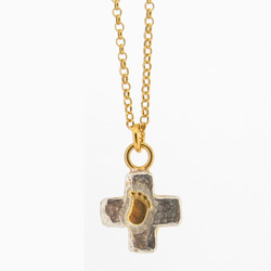 N-N34 Gold-Plated Baby Foot Cross Pendant