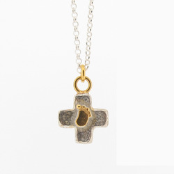 N-N33 Silver Baby Foot Cross Pendant