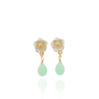 B-E11ch Flower drops with chrysoprase briolettes, Silver