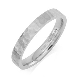 Flat Court Hammered Wedding Ring