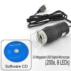 2.0 Megapixel USB Digital Microscope (200x, 8 LEDs)