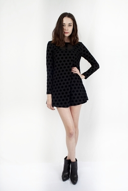 DOLLY - BLACK DOT VELVET DRESS