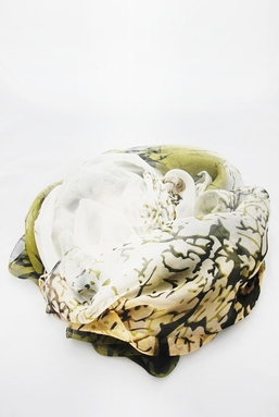 VENA - GREEN IVORY AND BLACK SCARF