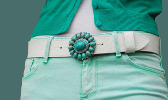 turquoise stone flower belt buckle