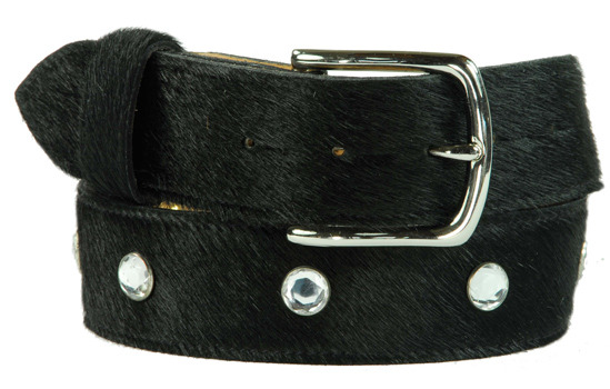 diamante black cowhide belt