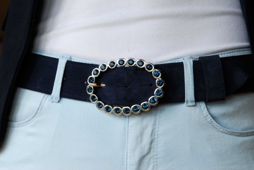 Montana blue oval diamante buckle