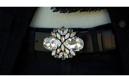 white swarovski crystal belt buckle