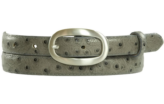 grey ostrich print skinny belt with silver buckle