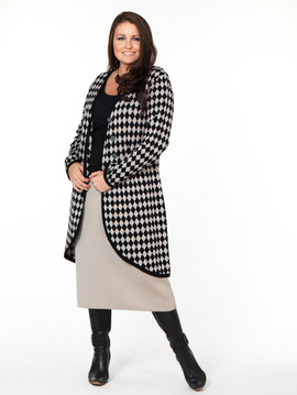 Houndstooth Long Plus Size Cardigan