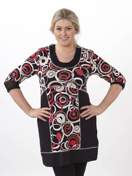Circles Pattern Plus Size Tunic Dress