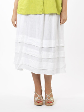 White Linen 3 Tier Gypsy Plus Size Skirt