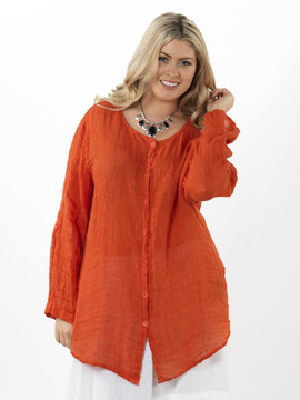 Flax Long Orange Blouse