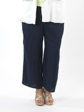 Flax Navy Crop Trousers